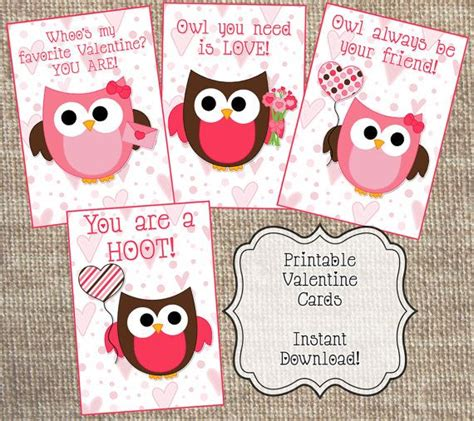 printable owl valentine cards instant download printable valentine s day cards owl