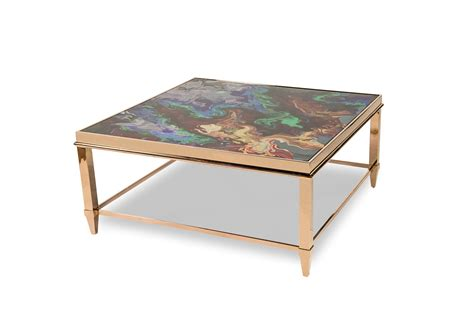 Mystique Transitional Square Multi Color Coffee Table W Color Coffee Table