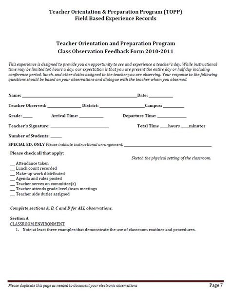 observation feedback form 2011topp2012 licensed for non commercial use only