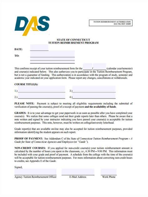 tuition reimbursement agreement template 9 tuition reimbursement form sle free sle