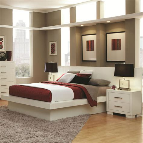 cool contemporary lighted king platform bed nightstands