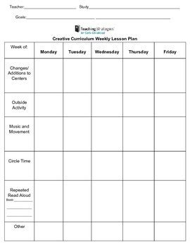 Creative Curriculum Lesson Plan Template By Let Them Be Little Tpt Creative Curriculum Lesson Plan Template