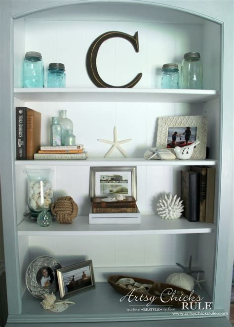 decorate bookshelf coastal styled bookshelves how to style shelves artsy