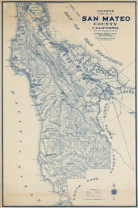 denny s pocket map of san mateo county california compiled