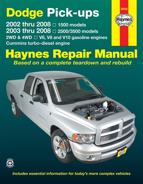online auto repair manual 2008 dodge ram 1500 seat position control dodge full size 1500 02 08 2500 3500 03 08 with v6 v8 v10 gas cummins turbo diesel