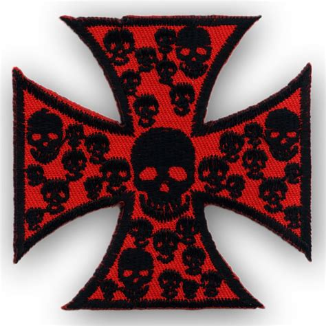 Patchwork Iron - patch quot iron cross with skulls quot accessories patches rockabilly