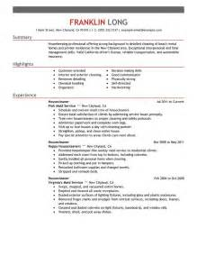 Housekeeping Resume Sle by Housekeeper Resume Sle Livecareer 2017 2018