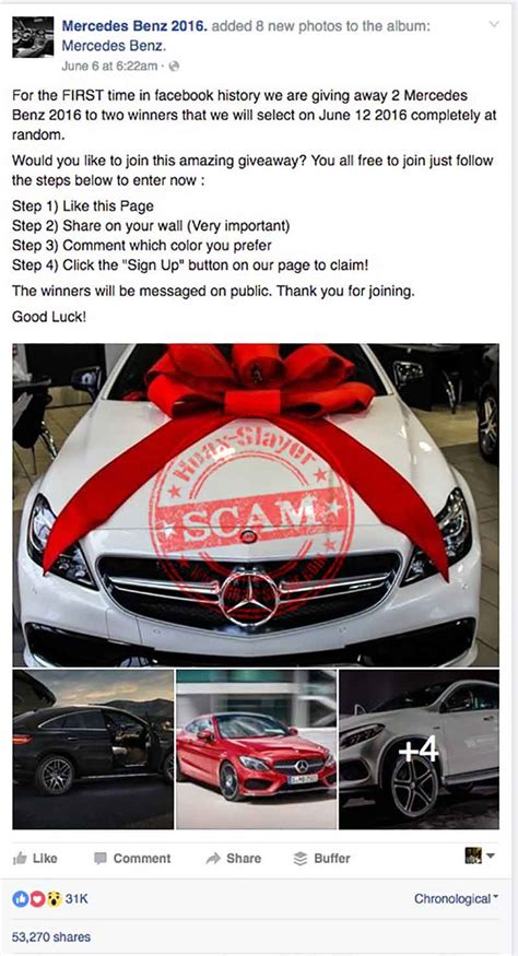 Mercedes Facebook Giveaway - yet another free mercedes benz scam hitting facebook hoax slayer