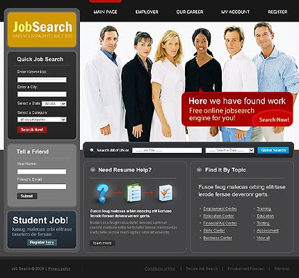 Job Templates Career Website Templates Free