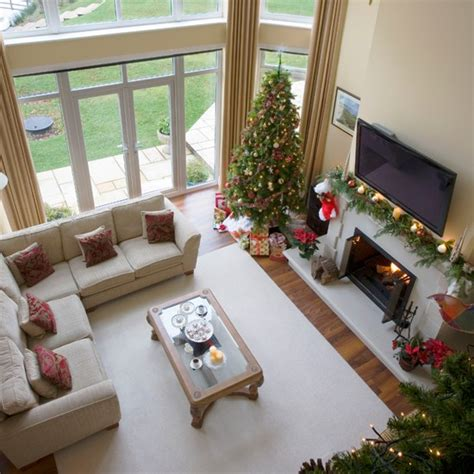 homes decorated for christmas on the inside christmas living room view from mezzanine step inside a