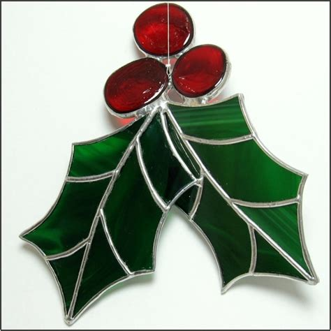 holly berry 3 d stained glass big christmas ornament