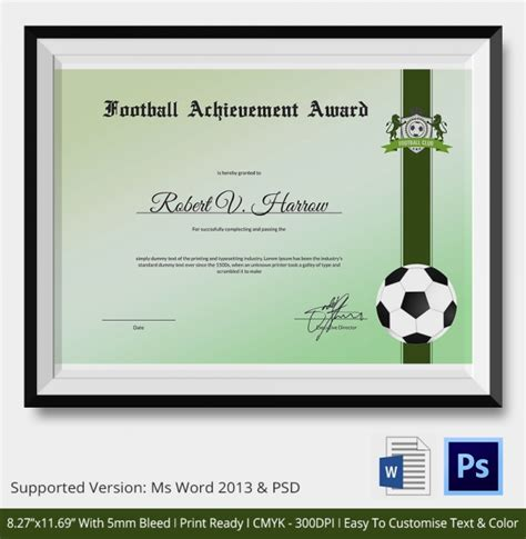 soccer certificate templates best 10 templates