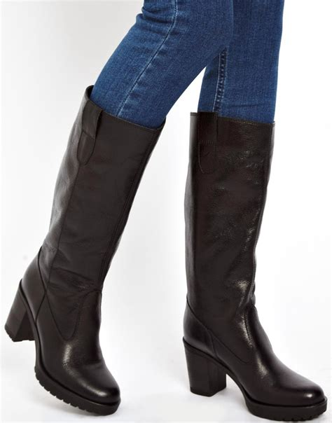 asos asos colorado leather knee high boots at asos