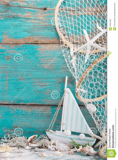 sailboat no background sailboat with shells and fishing net on turquoise