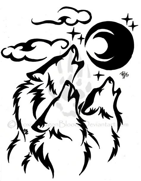 tribal wolf drawing howling www imgkid com the image