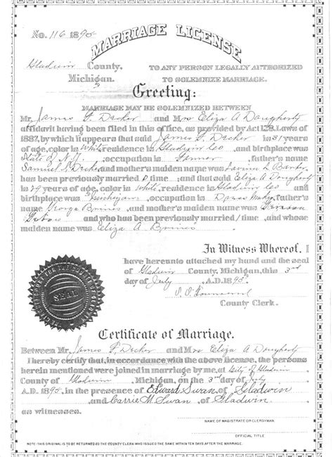 Marriage Records Michigan Marriage Licenses In Michigan