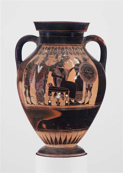 athena vase two handled jar hora depicting the birth of athena