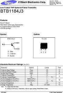 transistor j3 datasheet btb1184j3 datasheet low vcesat pnp epitaxial planar transistor