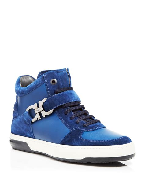 ferragamo sneakers mens ferragamo nayon high top sneakers in blue for lyst