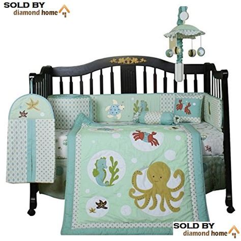Crab Crib Bedding 13 Sea Animals Baby Bedding Crib Sets Neutral Unisex Octopus Seahorse Crab Fish Turtle