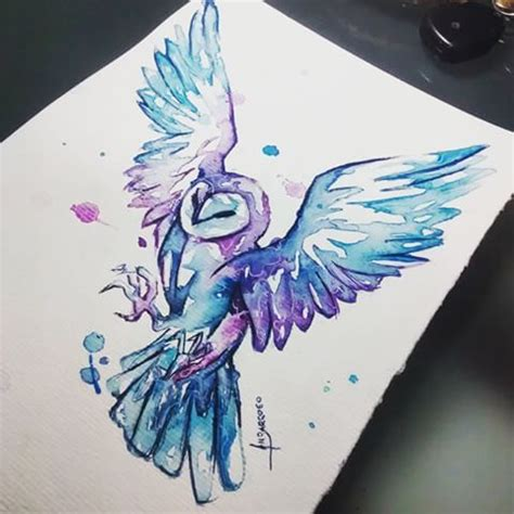 watercolor tattoo tecnica best 25 watercolor owl tattoos ideas on