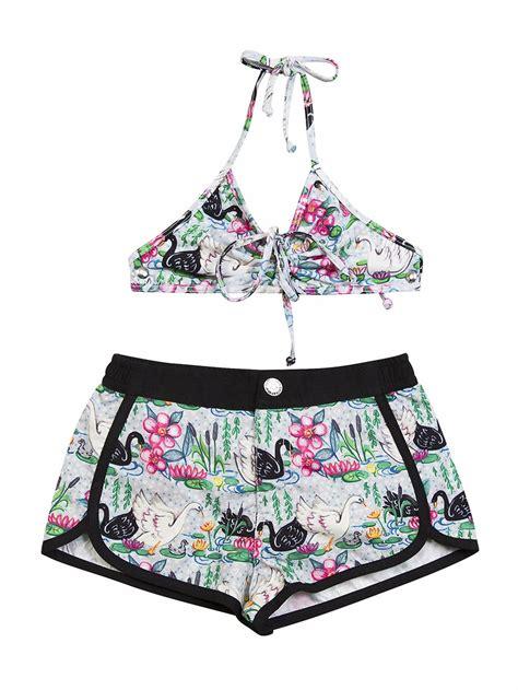Set Top Swim Shorts paper wings swan lake board shorts w top swim set