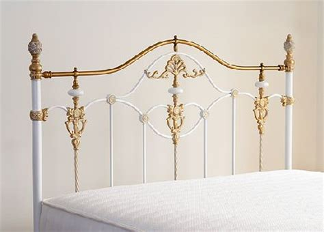 gold metal headboard bentley kingsize eleanor headboard white and antique