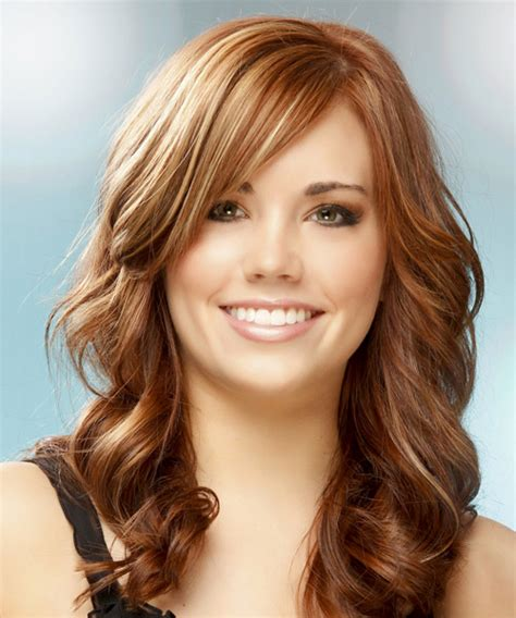 hairstyles with front highlights long wavy formal hairstyle medium red copper