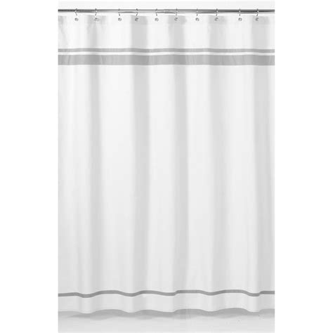 White And Gray Shower Curtain by Sweet Jojo Designs White And Grey Hotel Shower Curtain