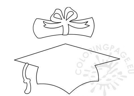 graduation cap  diploma template coloring page