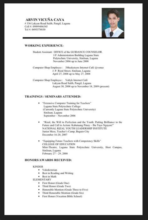 Graduate Resume Template Resume Sle For Fresh Graduate Philippines Resumes Design