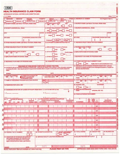1500 claim form template pin hcfa 1500 form on