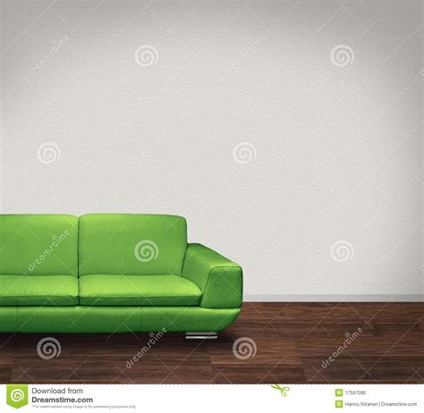green and white sofa green couch in white room stock photography