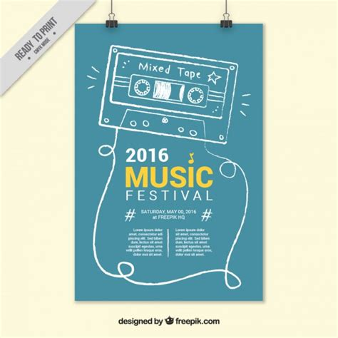 cute music festival poster vector free download