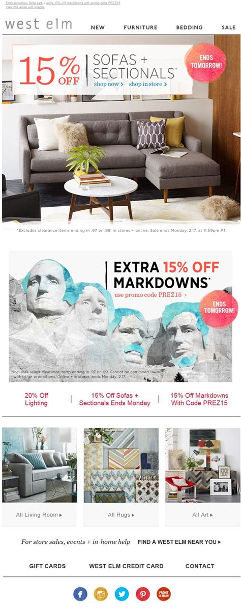 West Elm Presidents Day Sale 51 best images about promo code amp coupon emails on