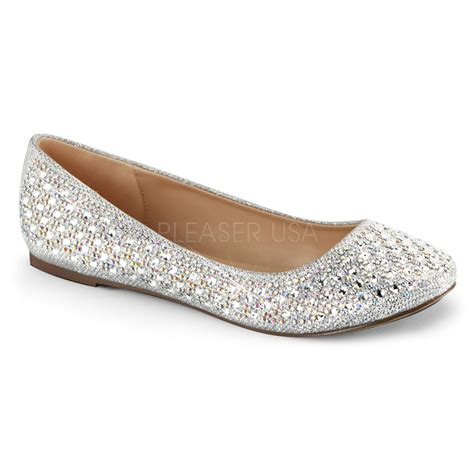 ballet flats shoes pleaser treat 06 silver shimmer iridescent rhinestone