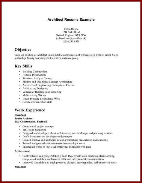 Work Experience Letter For Architect Cv Exle Application