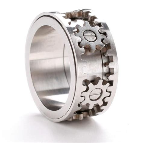 gear ring cyber jewelry industrial futuristic look