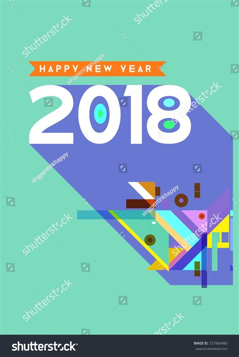 happy new year element vector design happy new year 2018 colorful abstract stock vector