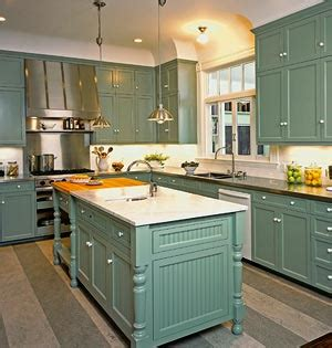 Retro mint green kitchen classic cabinets and a kitchen island with a