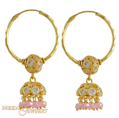 Chandelier Hoop Earrings 22kt Gold Hoop Earring With Chandelier Erhp3199 22kt