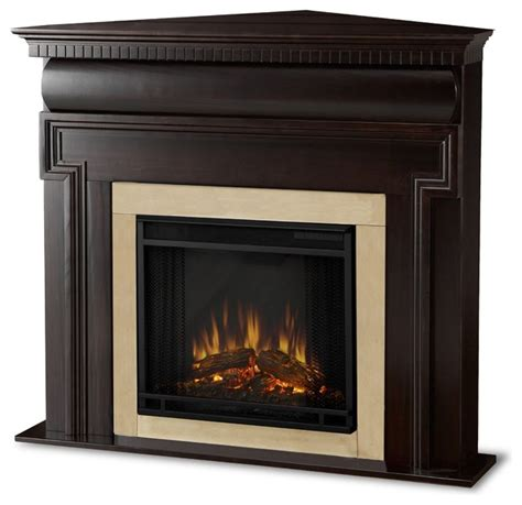 Walnut Electric Fireplace by Real Mt Vernon Walnut Corner Electric
