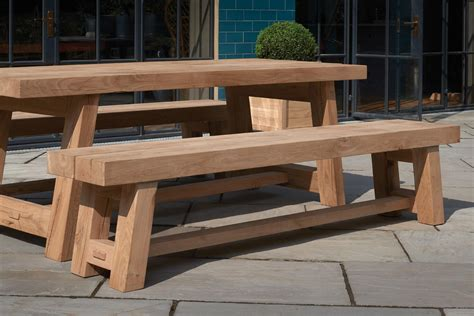 solid oak garden bench solid wood oak garden furniture tables benches indigo