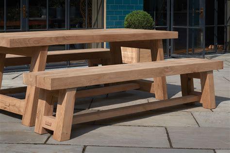 solid wood oak garden furniture tables benches indigo