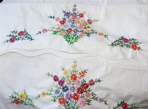 Embroidered Pillow Cases by 2 Embroidered Pillowcases