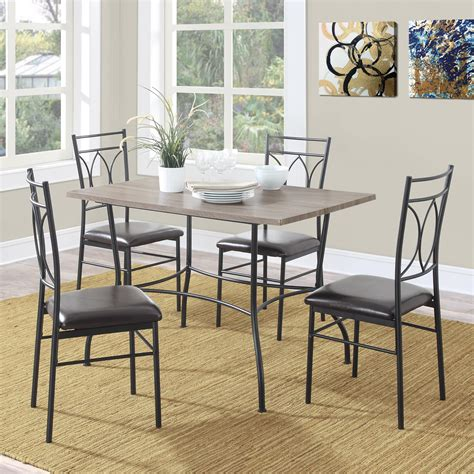 Metal Dining Table Sets Dorel Living Shelby 5 Pc Rustic Wood Metal Dining Set Rustic Black