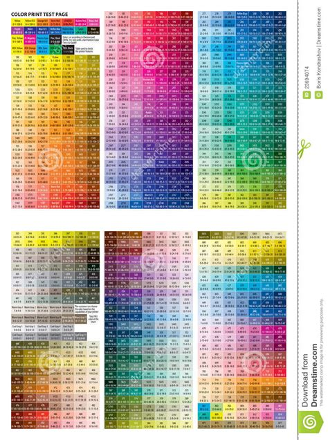 color print color print test page stock vector illustration of