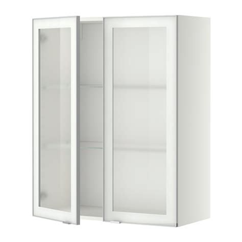 kitchen wall cabinets glass doors metod wall cabinet w shelves 2 glass drs white jutis