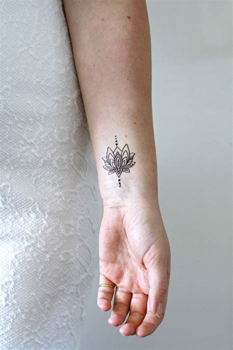 small lotus temporary tattoo lotus bohemian and stylish