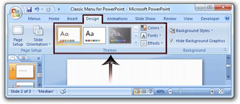 Where Is The Themes In Microsoft Powerpoint 2007 2010 2013 And 2016 Design Powerpoint 2013